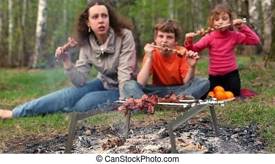 Mom and kids sit on grass cover by plaid and eats kebab on skewers