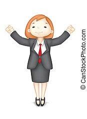 Happy 3d Business Woman in Vector