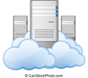 Servers and Clouds - Cloud Computing Concept. Vector...