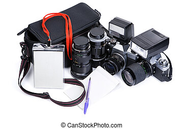 Photojournalism equipment over white background