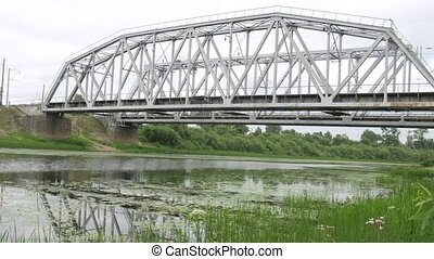 Freight train pass across bridge - VOLOGDA, RUSSIA - AUGUST...