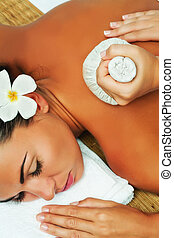treatment - portrait of young beautiful woman in spa...