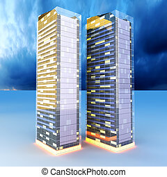 Skyscrapers in the Night - A contemporary skyscraper 3D...