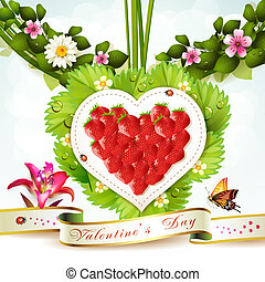 Heart of strawberry with leafs and flowers