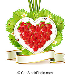 Heart of strawberry with leafs and label