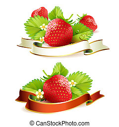Strawberry with leafs and ribbon