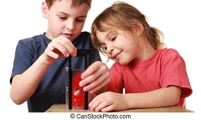 boy shows sister focus with toy guillotine for finger