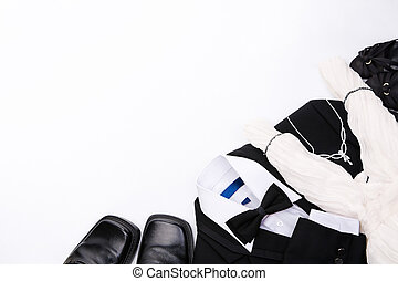 Couple suit - black suit and shoes for man and white dress...