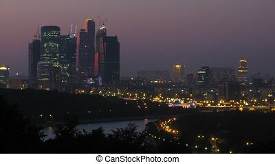 Business center Moscow City is visible from Vorobievy Mountains