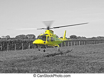 yellow helicopter rescue air ambulance take-off BN