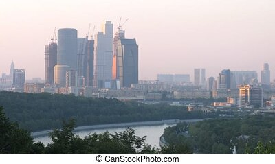 Building of Moscow City, view from Vorobievy Mountains sunrise