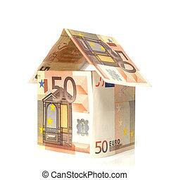 Maison construite en billet de 50 euros