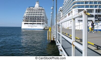 Two cruise liners stationed at bay - TALLINN, ESTONIA - JULY...
