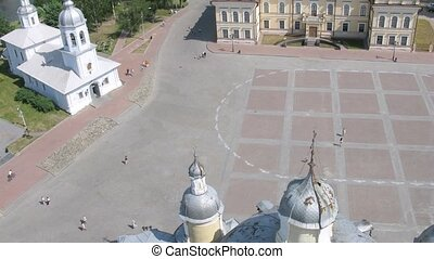 Churches in Vologda in central square, time lapse - Churches...