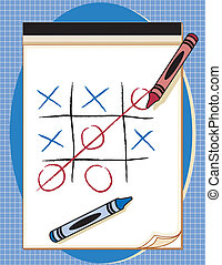 Game, Tic Tac Toe, Paper and Crayons - Drawing paper tablet...