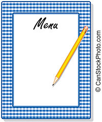 Menu, Blue Gingham Frame, Pencil - Retro blue gingham check...