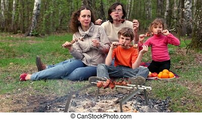 Father, mother and kids, sit on grass cover by plaid and eats kebab