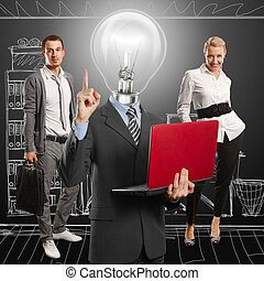 Lamp Head Man And Business Team - Lamp head man with laptop...