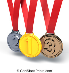 Three Medals3D render illustration Isolated on White