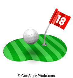 Golf Green And Ball3D render illustration Isolated on White...