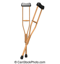 crutch.3D render illustration. Isolated on White.