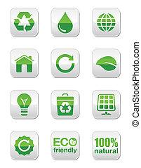 Green glossy icons set