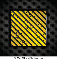 Grunge metal background - Grunge yellow and black stripes on...