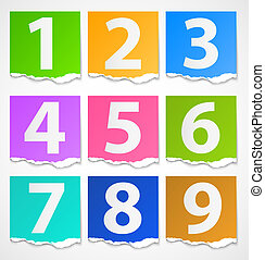 Colorful torn papers numbers - Colorful torn paper banners...