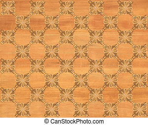 Faux Wood Marquetry #8 - Wood tile, red oak look with darker...