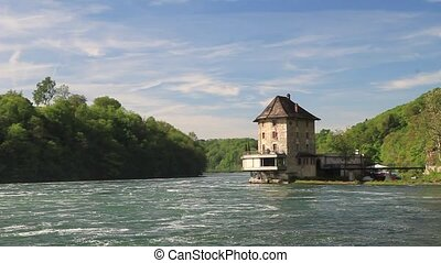 The castle Worth on the Rhine Falls. Northern Switzerland .