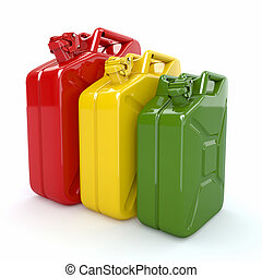 Three Jerrycan Fuel can on white background 3d
