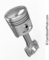 Piston and conrod. 3d - Piston and conrod on white isolated...
