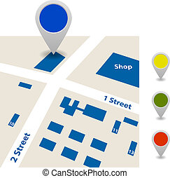 Scheme of the streets and signs