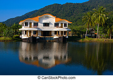 Tropical hotel on the lake ,Thailand - Exotic place in...