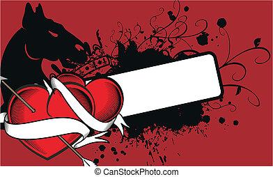 heraldic heart arrow crest backg9