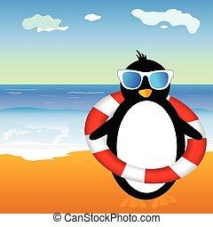 penguin on beach vector illustration