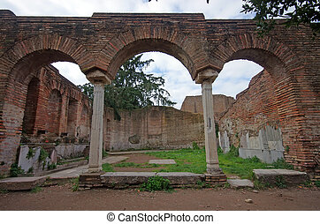 Ancient arcade - Ostia Antica, ancient roman arcade, near...