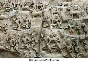 Mamallapuram Temple Tamil Nadu - stone relief in the...