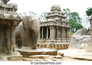 Mamallapuram Temple Tamil Nadu - an elephant in the...