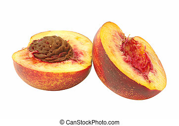 Cutted nectarine fruit isolated on a white background