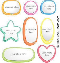 photo frame background of different shapes, sizes and colors