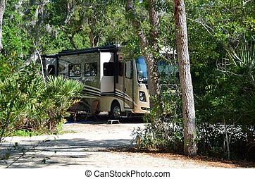 Motorhome on a campsite along the rivers edge St Augustine,...