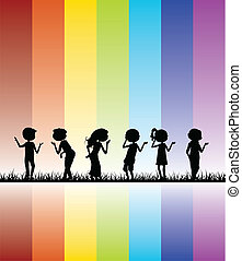 children colorful silhouettes background