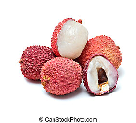 Lychees and its section isolated on white background