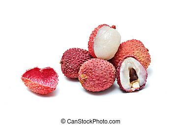Pile of lychees and  section isolated on white background
