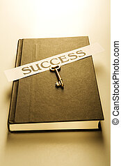 Book with golden key and success label (warm)