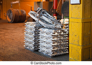 Stack of raw aluminum bars
