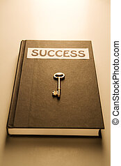 Golden key and success book (warm)