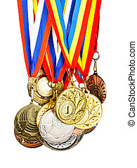 Sports Medal. Photos isolated on white background - Sports...