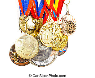 Sports Medal Photos isolated on white background - Sports...
